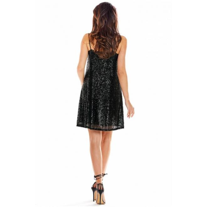 Čierne flitrované šaty na ramienka pre dámy