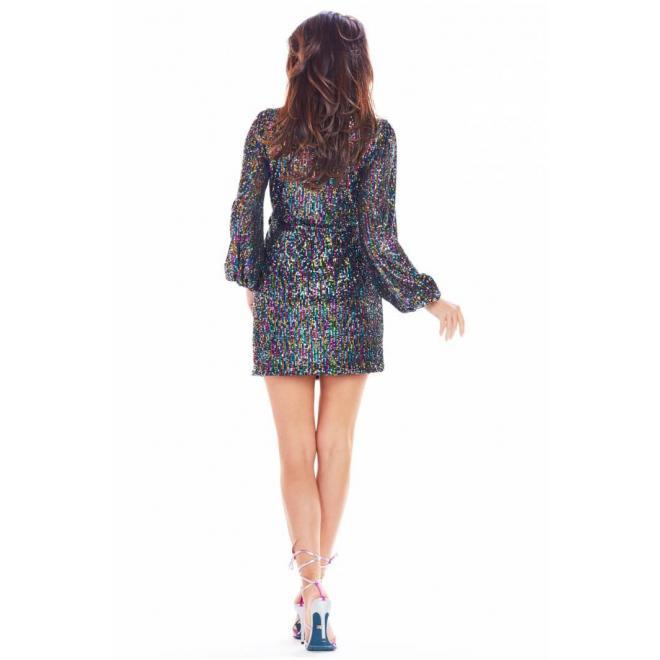 Flitrované farebné dámske šaty s dlhým rukávom