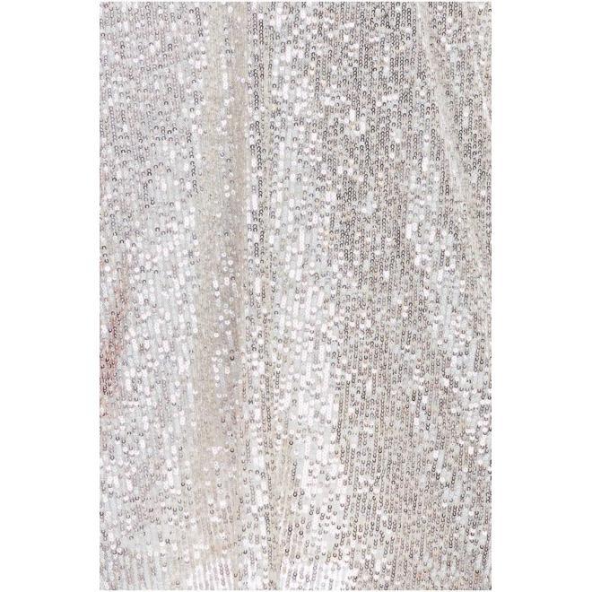 Dámske flitrované šaty s dlhým rukávom v béžovej farbe