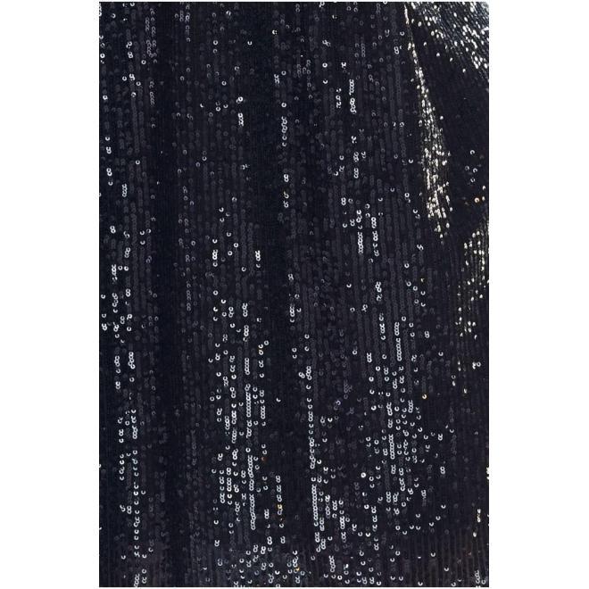 Čierne flitrované šaty s dlhým rukávom pre dámy