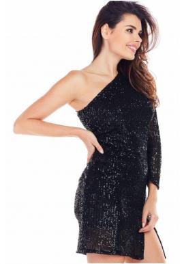 Flitrované dámske šaty čiernej farby s jedným rukávom