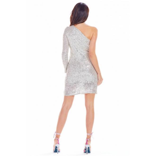 Dámske flitrované šaty s jedným rukávom v béžovej farbe