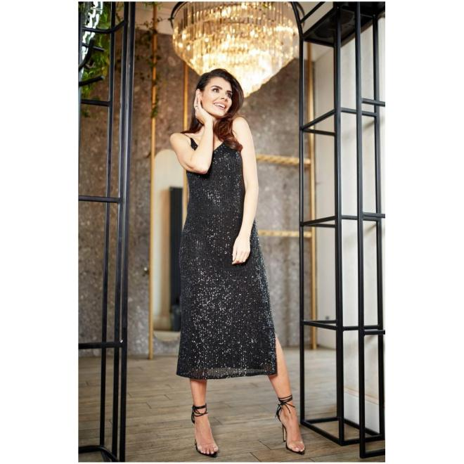 Čierne dlhé šaty s flitrami pre dámy