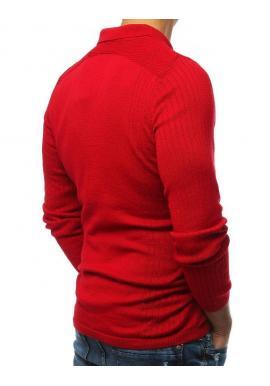 Červený módny sveter s klasickým golierom pre pánov