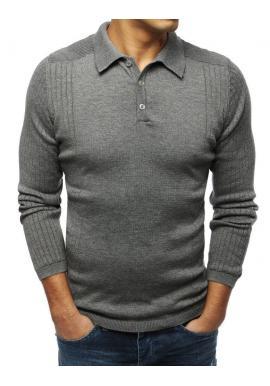Pánsky módny sveter s klasickým golierom v tmavosivej farbe