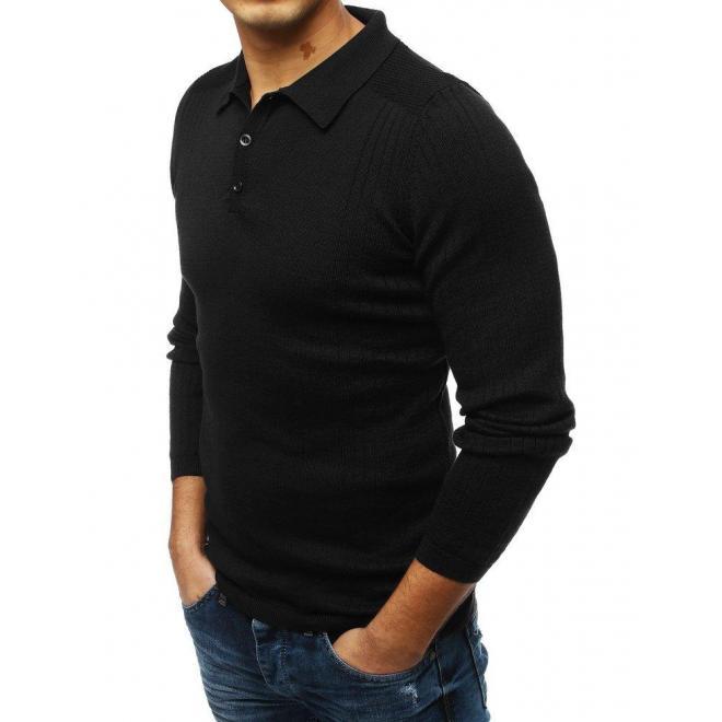 Módny pánsky sveter čiernej farby s klasickým golierom