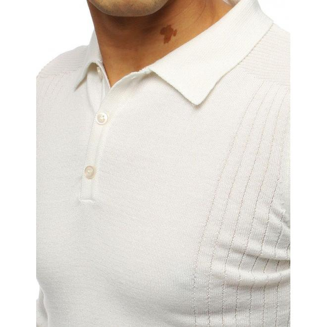 Biely módny sveter s klasickým golierom pre pánov