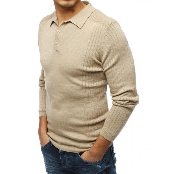 Pánsky módny sveter s klasickým golierom v béžovej farbe