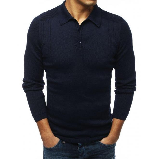 Módny pánsky sveter tmavomodrej farby s klasickým golierom