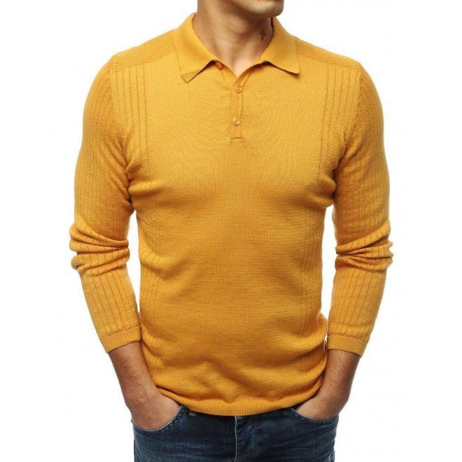 Horčicový módny sveter s klasickým golierom pre pánov