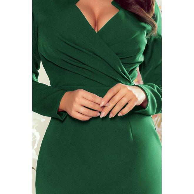 Elegantné dámske šaty zelenej farby s obálkovým výstrihom