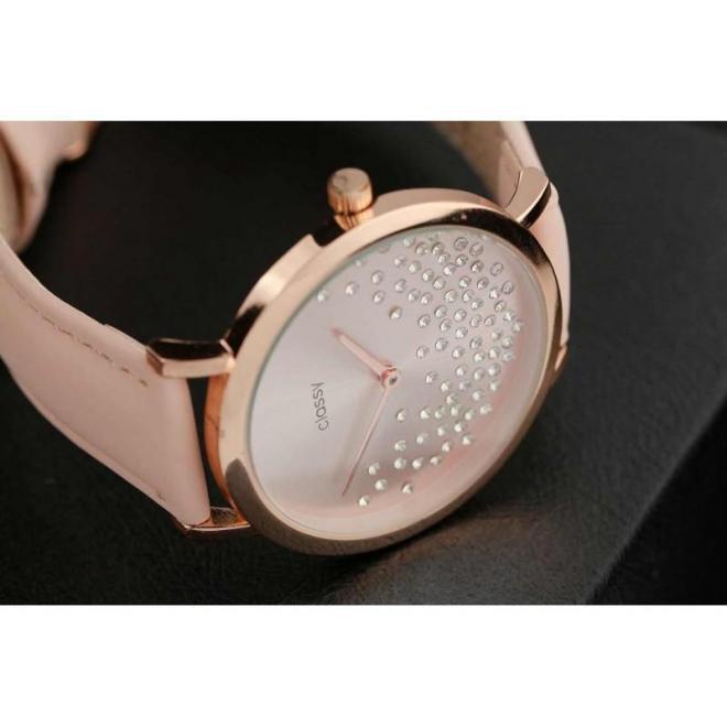 Ružové módne hodinky s kryštálmi pre dámy