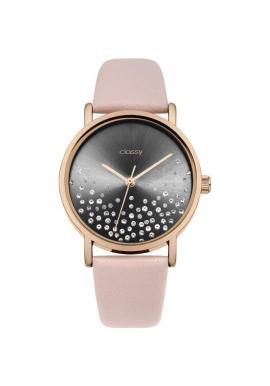 Módne dámske hodinky ružovo-čiernej farby s kryštálmi