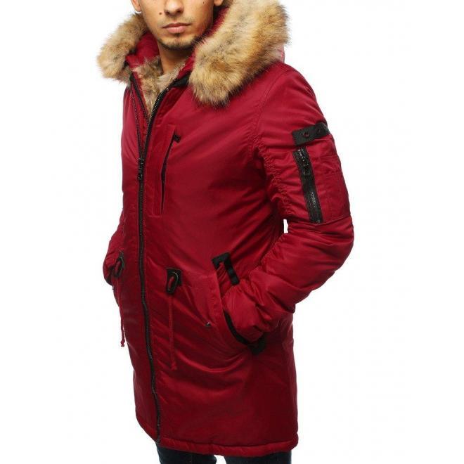 Zimné pánske bundy červenej farby s kapucňou