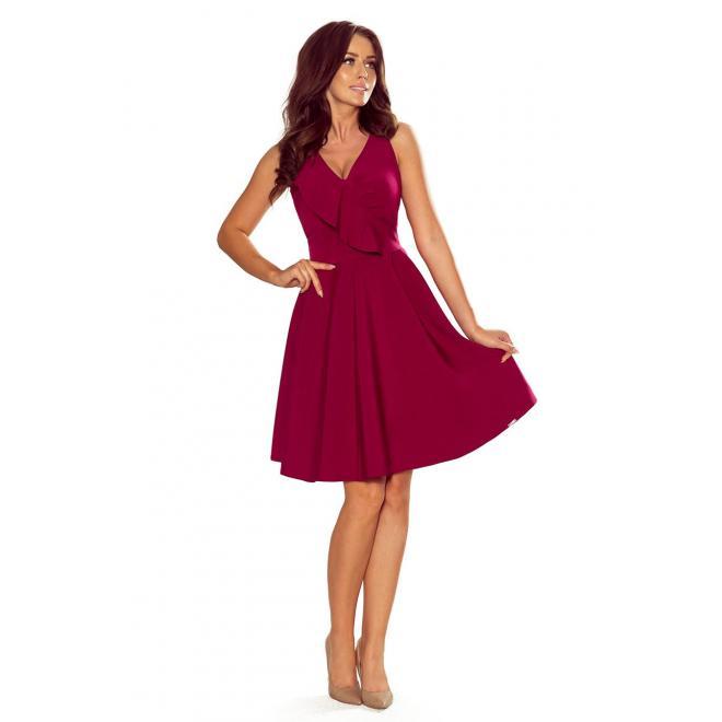 Dámske rozšírené šaty s volánom na výstrihu v bordovej farbe