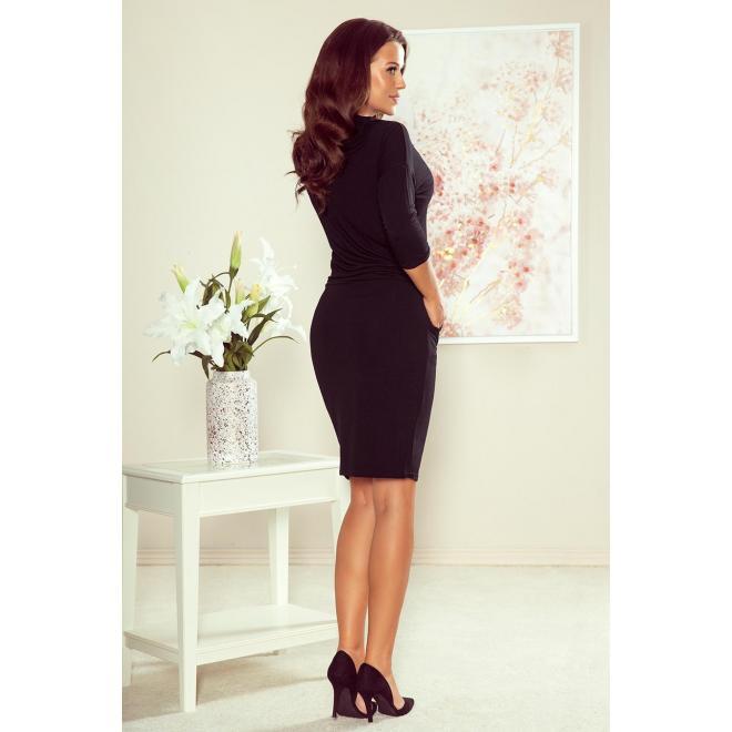 Čierne športové šaty s viazaním pre dámy
