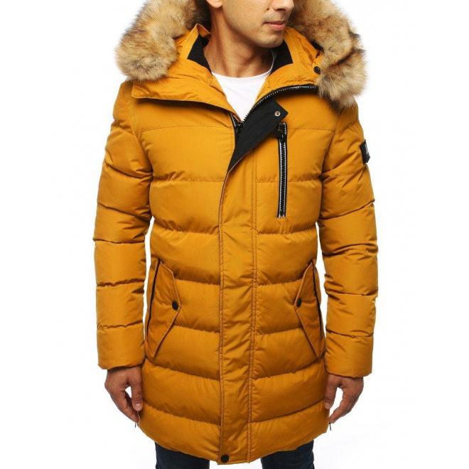 Dlhá pánska bunda žltej farby na zimu
