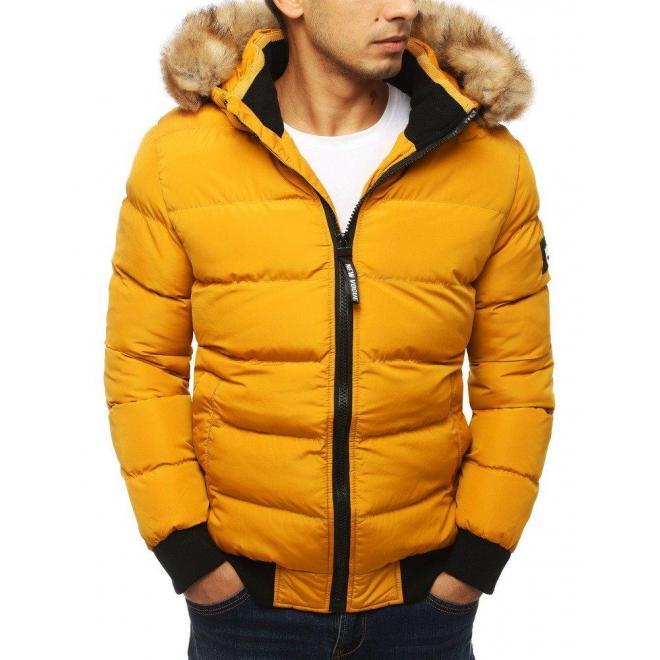 Prešívaná pánska bunda žltej farby na zimu