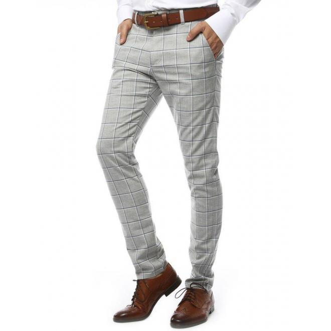 Pánske kockované nohavice v svetlosivej farbe