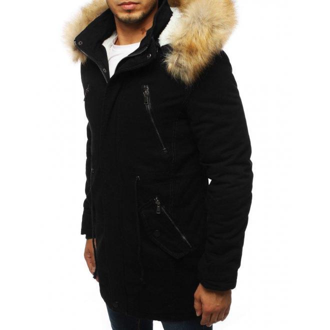 Zimná pánska Parka čiernej farby s kapucňou