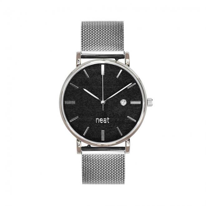 Dámske módne hodinky s kovovým remienkom v strieborno-čiernej farbe
