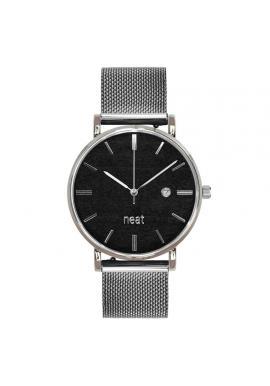 Štýlové pánske hodinky strieborno-čiernej farby s kovovým remienkom