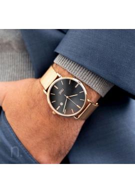 Zlato-čierne štýlové hodinky s kovovým remienkom pre pánov