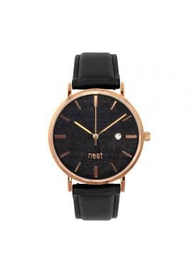 Čierne štýlové hodinky s koženým remienkom pre pánov