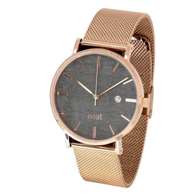 Pánske štýlové hodinky s kovovým remienkom v zlato-sivej farbe