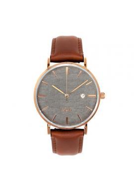 Pánske štýlové hodinky s koženým remienkom v hnedo-sivej farbe