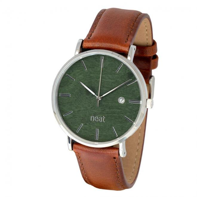 Hnedo-zelené štýlové hodinky s koženým remienkom pre pánov