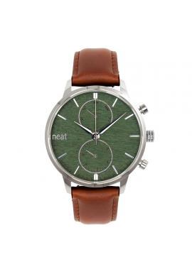 Pánske štýlové hodinky s koženým remienkom v hnedo-zelenej farbe