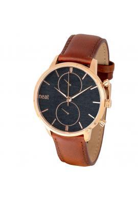 Hnedo-čierne štýlové hodinky s koženým remienkom pre pánov