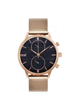 Pánske štýlové hodinky s kovovým remienkom v zlato-čiernej farbe