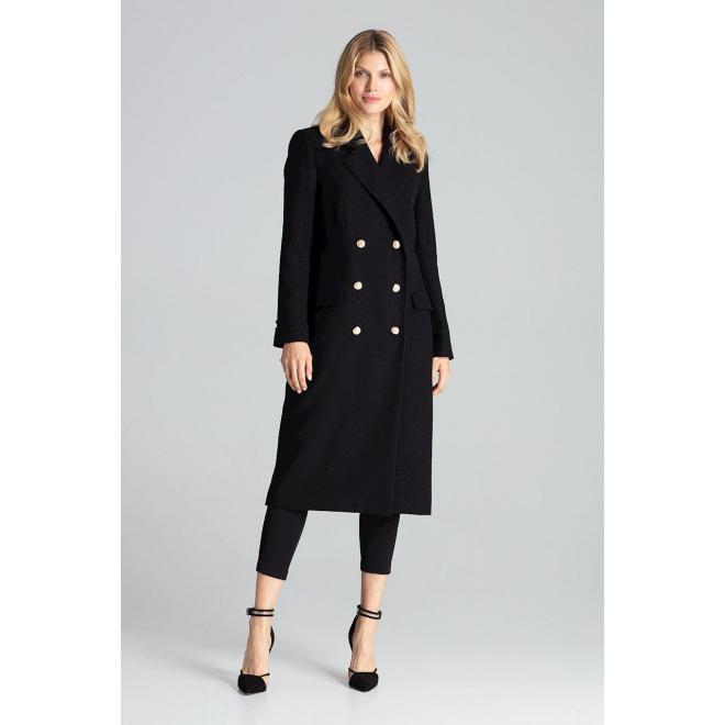 Čierny dvojradový kabát so zlatými gombíkmi pre dámy
