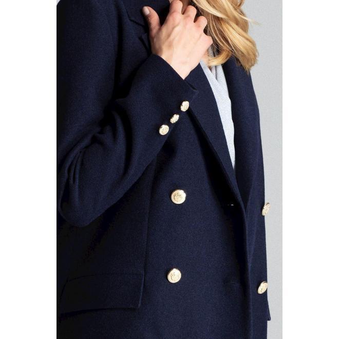Dámsky dvojradový kabát so zlatými gombíkmi v tmavomodrej farbe