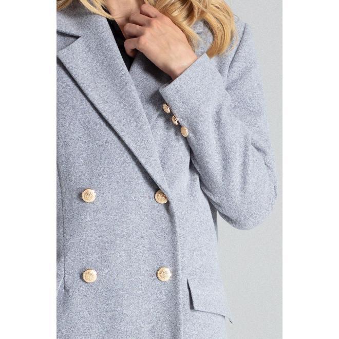Dvojradový dámsky kabát sivej farby so zlatými gombíkmi