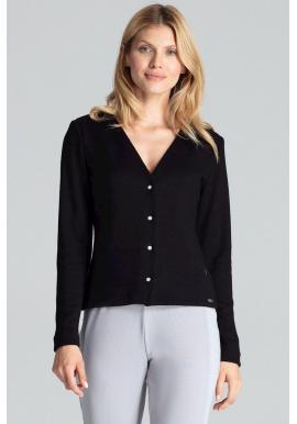 Klasický dámsky sveter čiernej farby so zapínaním