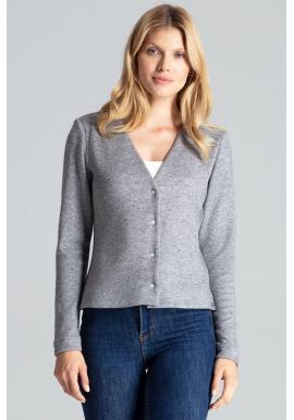 Dámsky klasický sveter so zapínaním v sivej farbe