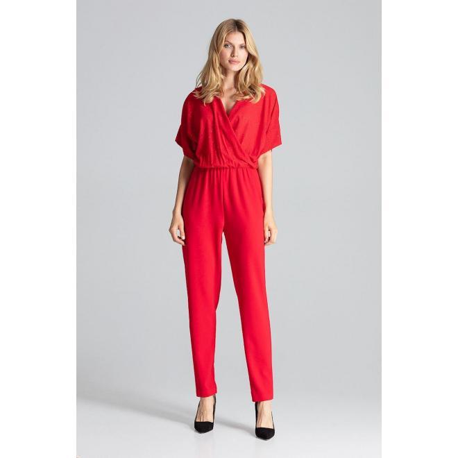 Elegantný dámsky overal červenej farby s brokátovým vrchom