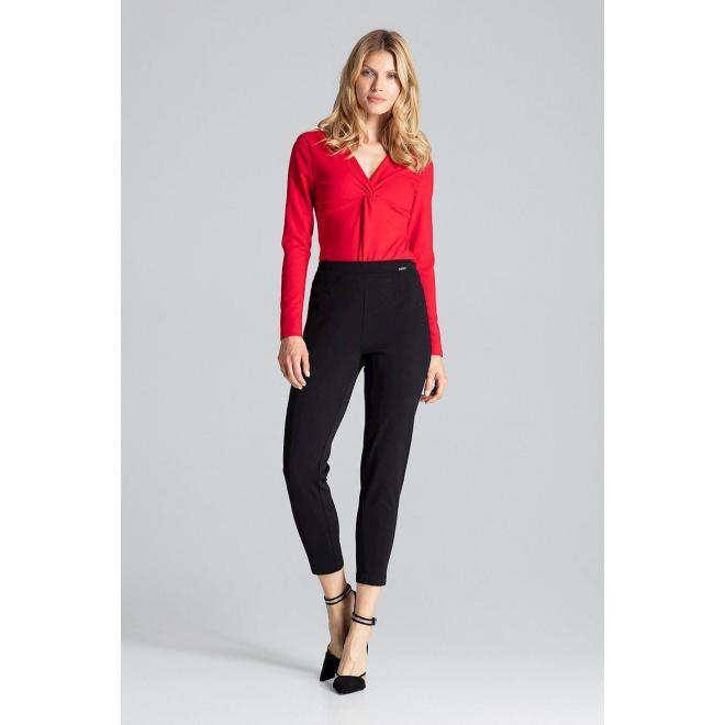 Zmyselné dámske body červenej farby s dlhým rukávom