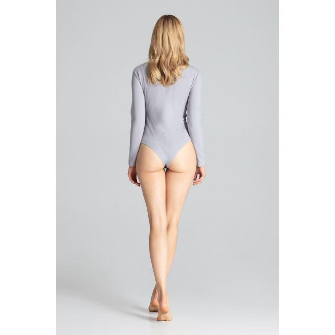 Zmyselné dámske body sivej farby s dlhým rukávom