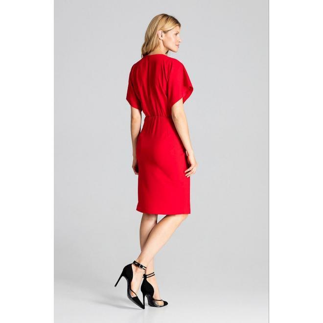 Dámske elegantné šaty s kimono rukávmi v červenej farbe