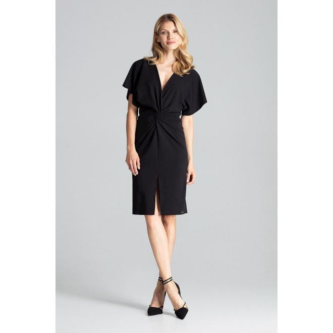 Čierne elegantné šaty s kimono rukávmi pre dámy