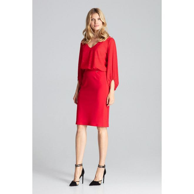 Ceruzková dámska sukňa červenej farby s brokátovými pásmi