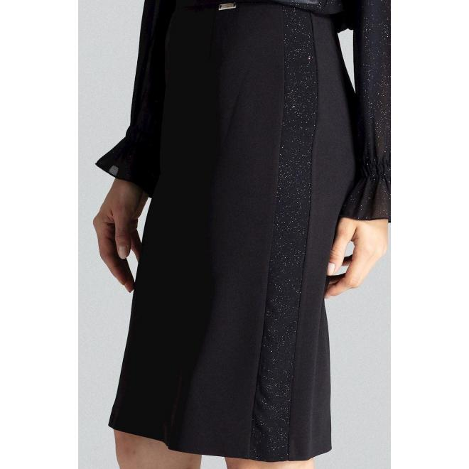 Dámska ceruzková sukňa s brokátovými pásmi v čiernej farbe