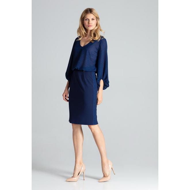 Tmavomodrá ceruzková sukňa s brokátovými pásmi pre dámy