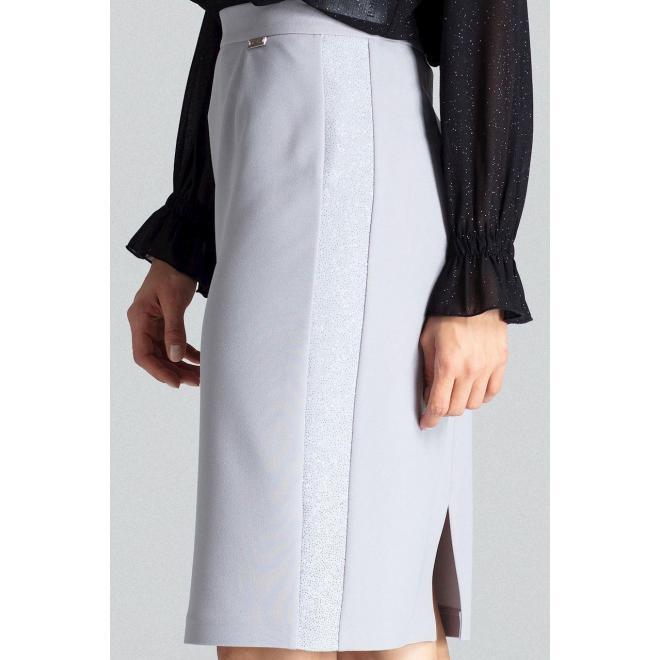 Ceruzková dámska sukňa sivej farby s brokátovými pásmi