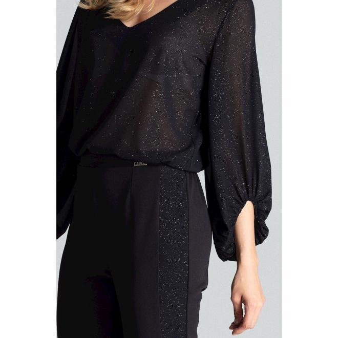 Čierne elegantné nohavice s brokátovými pásmi pre dámy