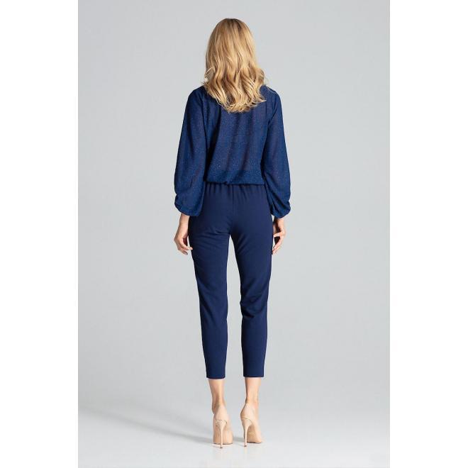 Elegantné dámske nohavice tmavomodrej farby s brokátovými pásmi